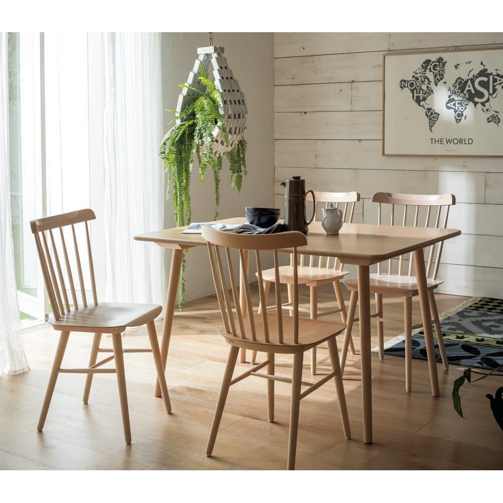 ウィンザーダイニングテーブル 長方形ダイニングテーブル 幅約120cm×80cm[チェコ・TON社] [コーディネート例]ナチュラル