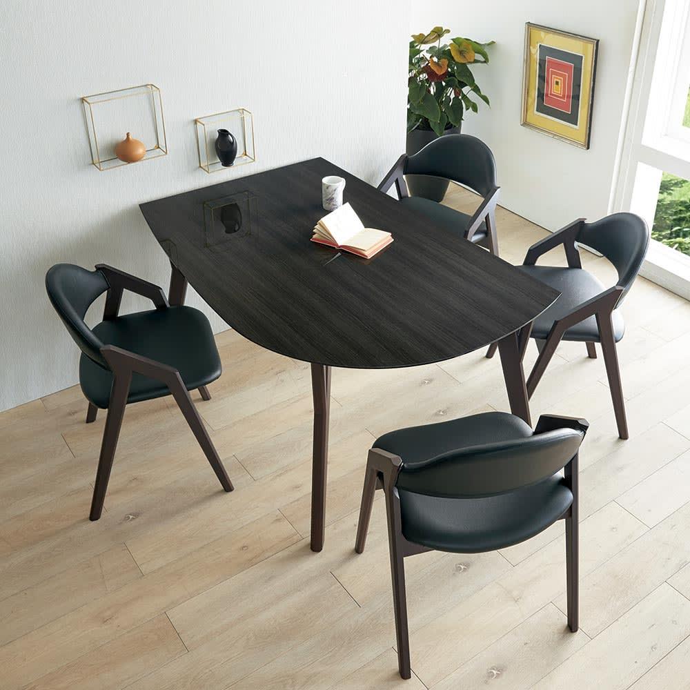 Hyva/ヒュヴァ ダイニングシリーズ 幅140cm 5点セット 変形テーブル140 5点セット (ウ)ウェンジ・ブラック