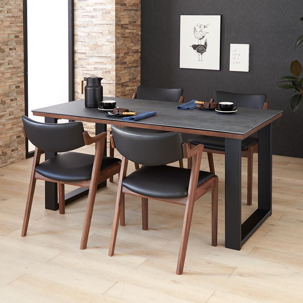 Zwart/ズワルト セラミックダイニングシリーズ テーブル 幅150 コーディネート例