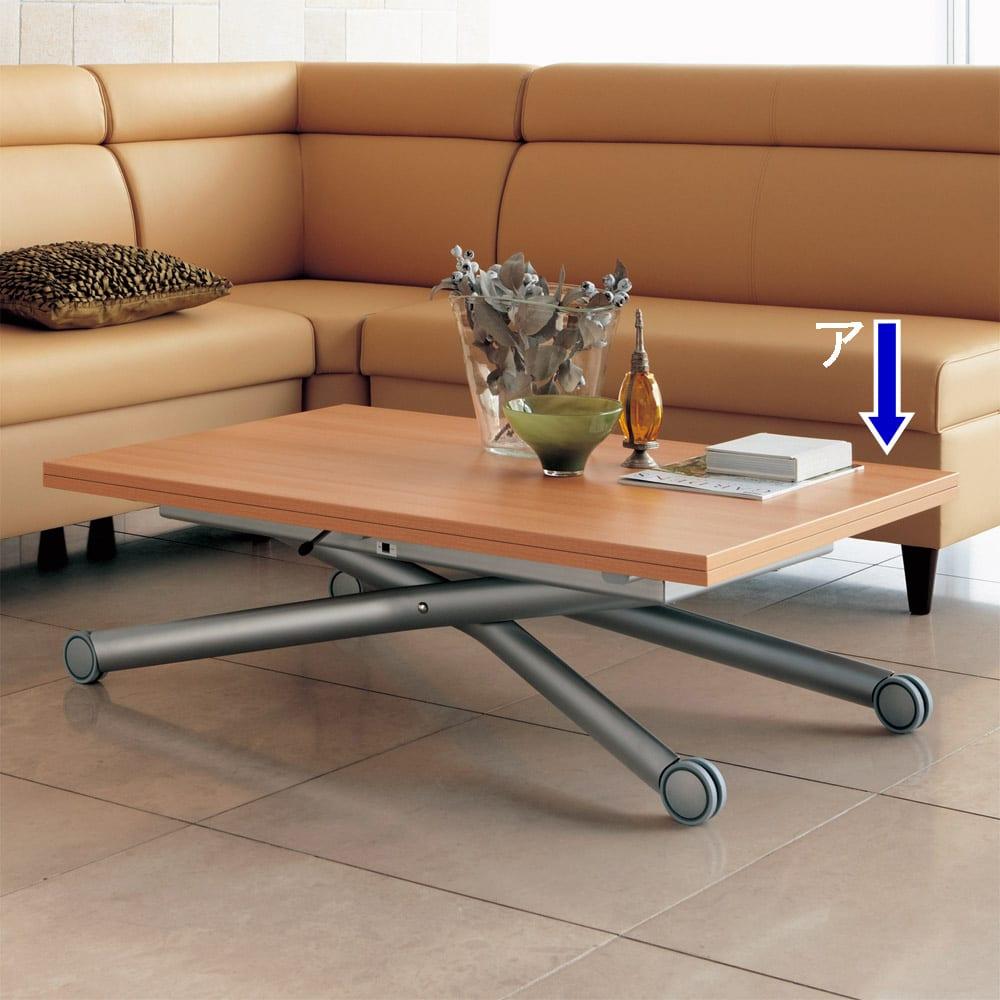 Lift-Up リフトアップ イタリア製昇降エクステンションテーブル[昇降式・伸長式・キャスター付き] テーブル幅110cm×70cm[伸長時140cm×110cm] ナチュラルはビーチ材調の明るい木目があります。