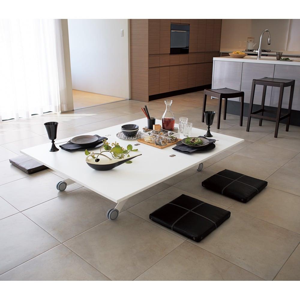 Lift-Up リフトアップ イタリア製昇降エクステンションテーブル[昇降式・伸長式・キャスター付き] テーブル幅110cm×70cm[伸長時140cm×110cm] ホワイト 無段階に昇降できるテーブルは、なんと座卓としても使用できます!