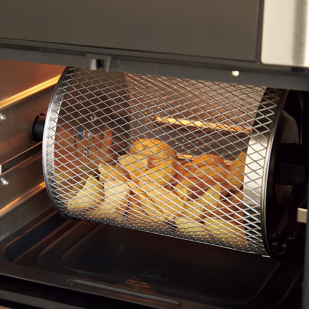 インスタントブランズ エアフライヤーオーブンプラス 付属の回転バスケットを使えばご自宅でポテトが簡単に!