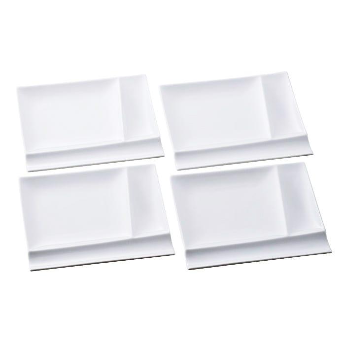 お箸が置けるパレット皿 幅17cm 4枚組  ホワイト4枚
