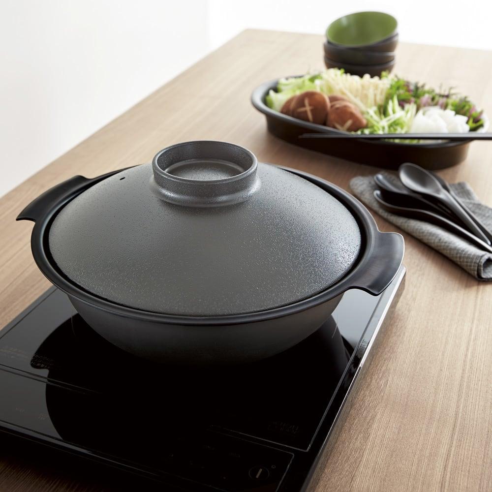 ステンレス3層鋼DONABE 土鍋27cm+蒸し板 モダンなダークグレー×ブラック(写真は27cmです)