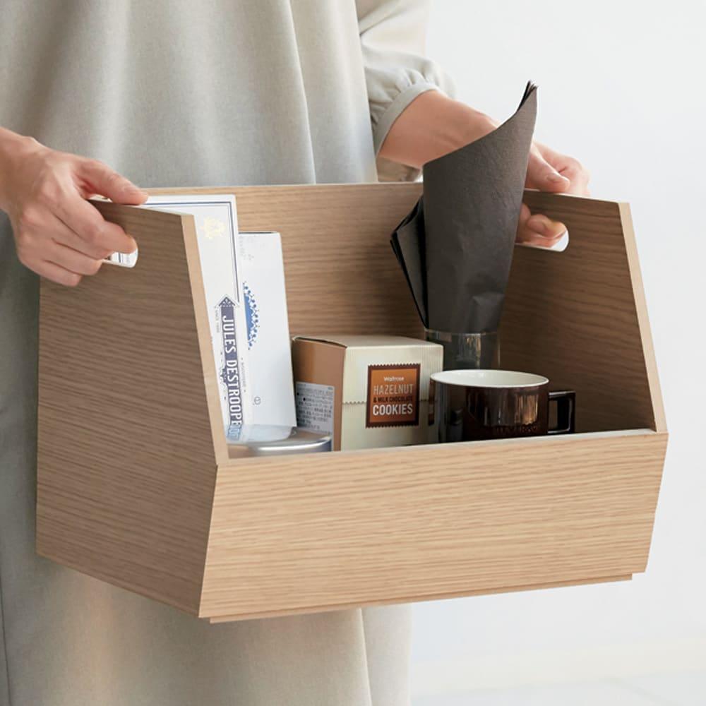 収納スタッキングボックス 3段 引き出し2杯付き (ア)ナチュラル 持ち手付きで、持ち運びがラク。