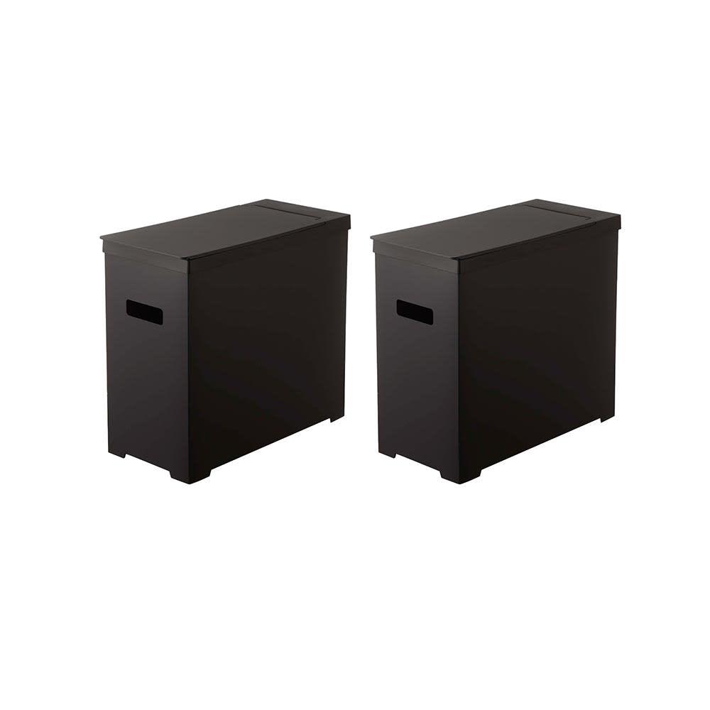 シンク下収納蓋付ゴミ箱 同色2個組 (イ)ブラック2個組
