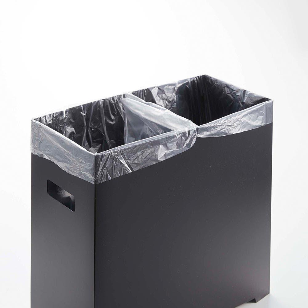 シンク下収納蓋付ゴミ箱 同色3個組 ゴミ箱には切れ込みが入っているので、袋の掛け方によっては分別が可能に。