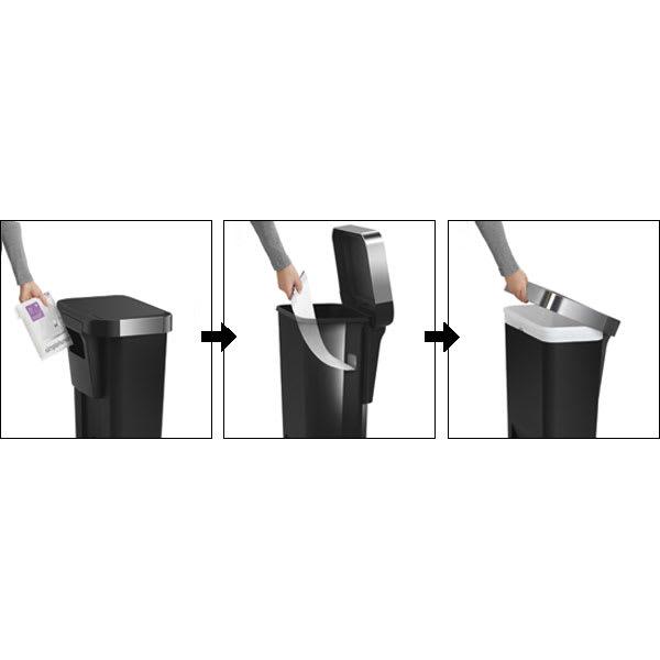 simplehuman/シンプルヒューマン ゴミ袋ホルダー付ペダルペール ゴミ袋の補充は外側から、取り出しは内側からもできる作り。ライナーリムでゴミ袋が隠せます。