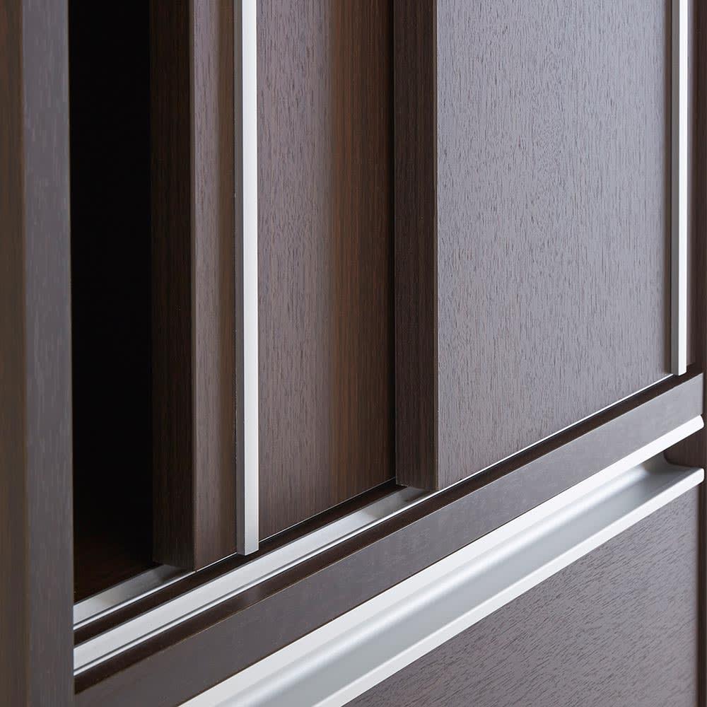 Rerve/レルヴェ 壁面収納引き戸キッチンパントリー 奥行30cm幅50cm高さ180cm 引き戸のレールもアルミ製。樹脂製に比べ耐久性に優れクールな質感が魅力。