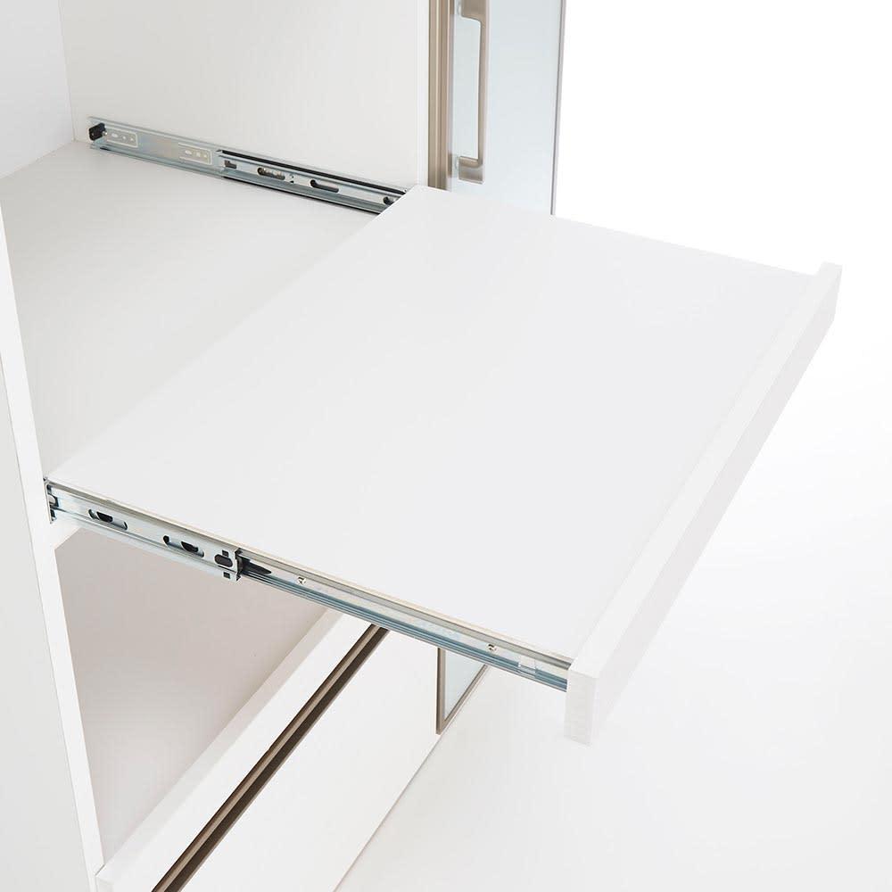 Upea/ウペア 高機能レンジボード家電ラック 幅70cm奥行47.5cm高さ180cm 家電収納スライドは手前に大きく引き出すことができ、炊飯器など蓋を上に開ける家電も楽々。