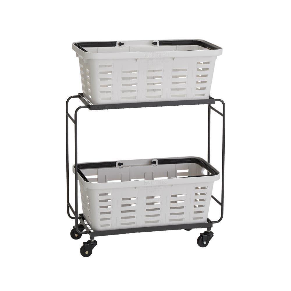 薄型アイアンワゴンバスケット・キッチン収納ワゴン (ア)ホワイト