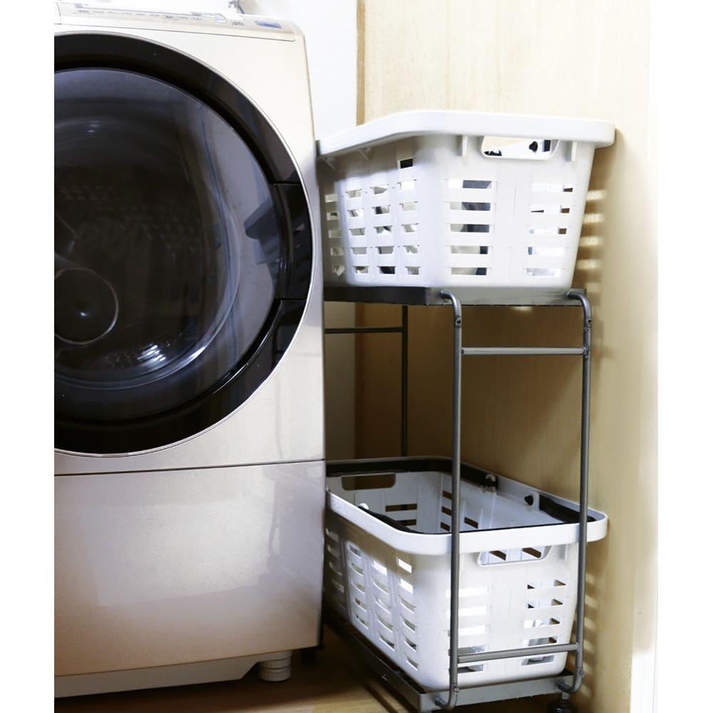 薄型アイアンワゴンバスケット・キッチン収納ワゴン ワゴン内にバスケットを両方納めればよりコンパクトですっきり