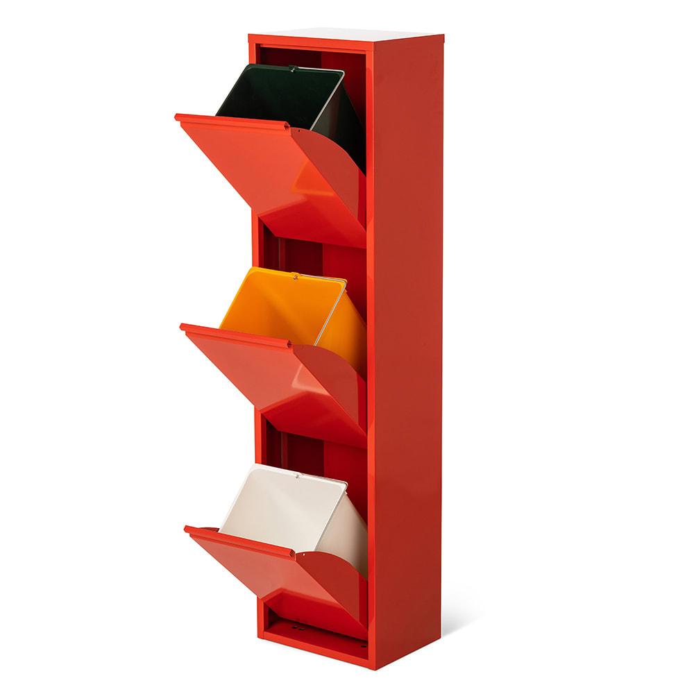 DOTTUS/ドッタス ダストボックス3段(3分別ゴミ箱)幅34cm奥行24cm高さ136cm レッド、シルバーともに内部のペールは同様にホワイト・オレンジ・深いグリーンです。