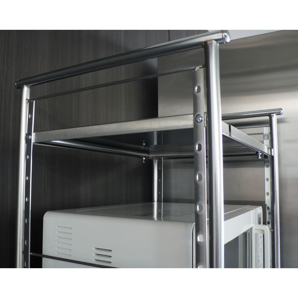 ステンレス棚ダストボックス上幅伸縮ラック 棚2段