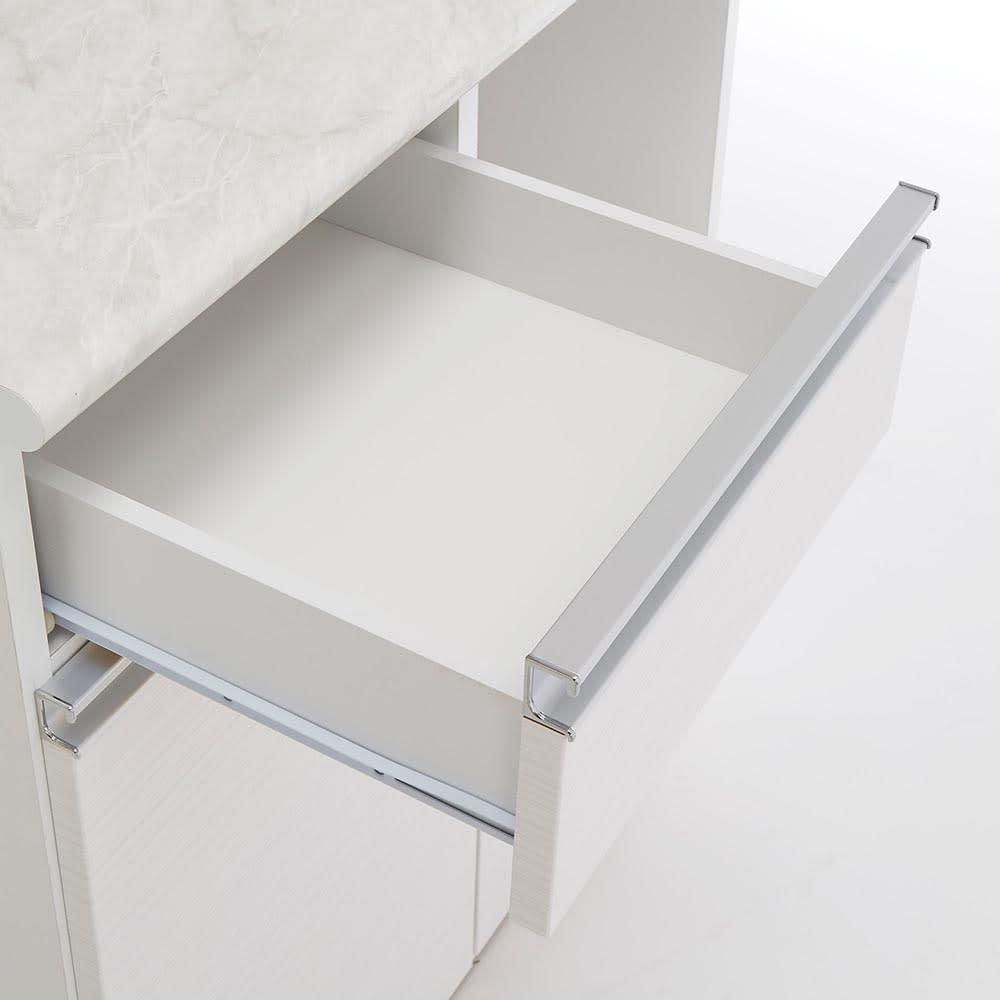 Lilja/リルヤ 大理石調天板棚収納キッチンカウンター家電ラック付き 幅120cm奥行48cm高さ88cm 引き出し内部も収納物に配慮し、クリーンなホワイトカラーで仕上げています。