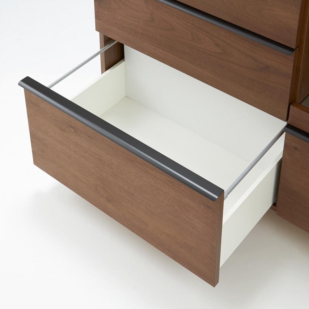 Lana/ラナ ステントップボード・キッチンボード 幅140cm 引出しのサイドフレームは金属製でしっかりとした作り。