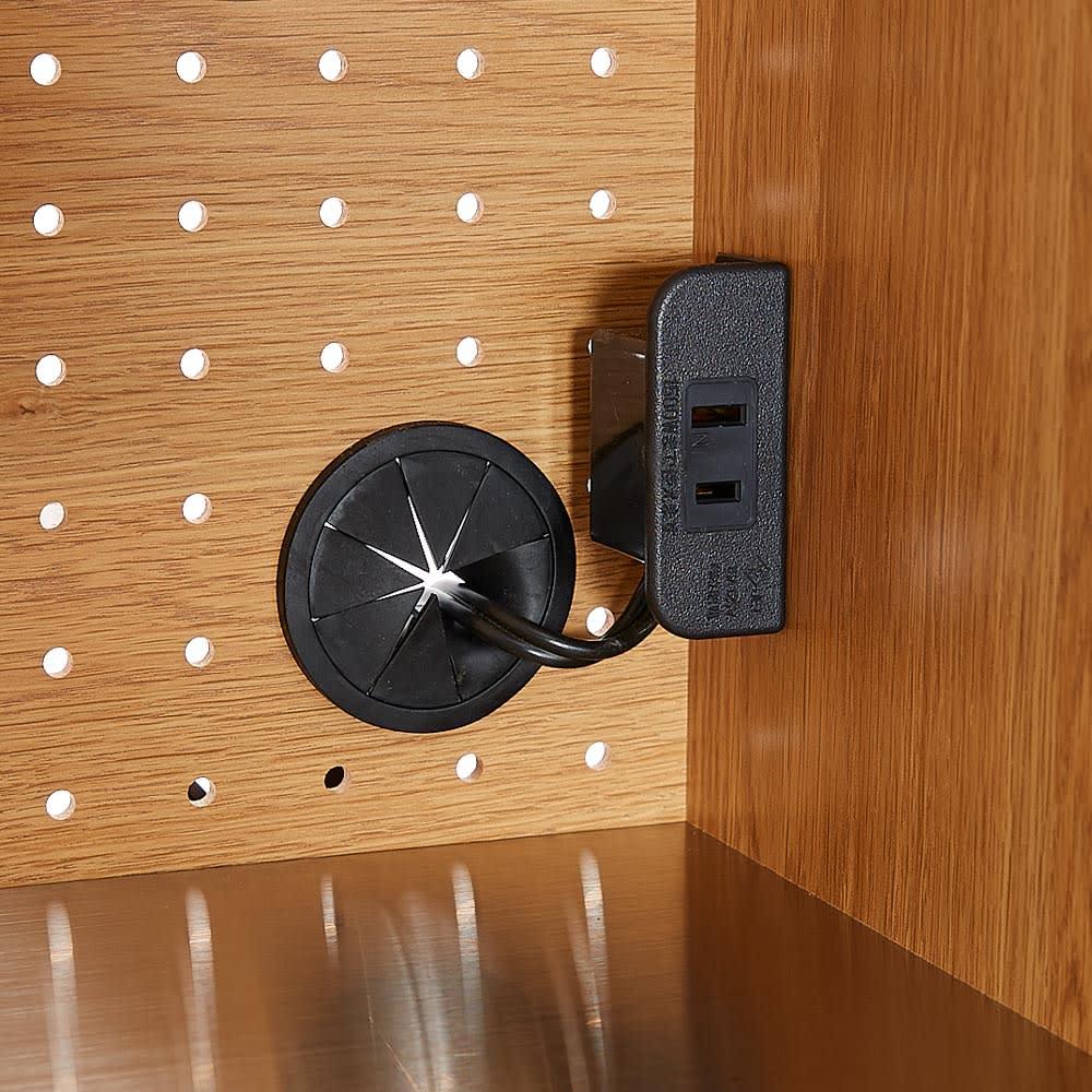 Lana/ラナ ステントップボード レンジボード 上オープン収納部に1口コンセント(1500W)付き。