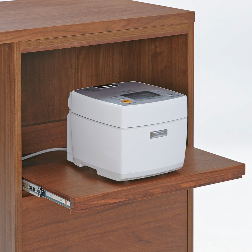 VineII/ヴィネ2 アイランドカウンターウォルナットタイプ 大理石調天板 幅150cm 【スライドテーブル】家電収納部はスライド仕様で炊飯器も収納。