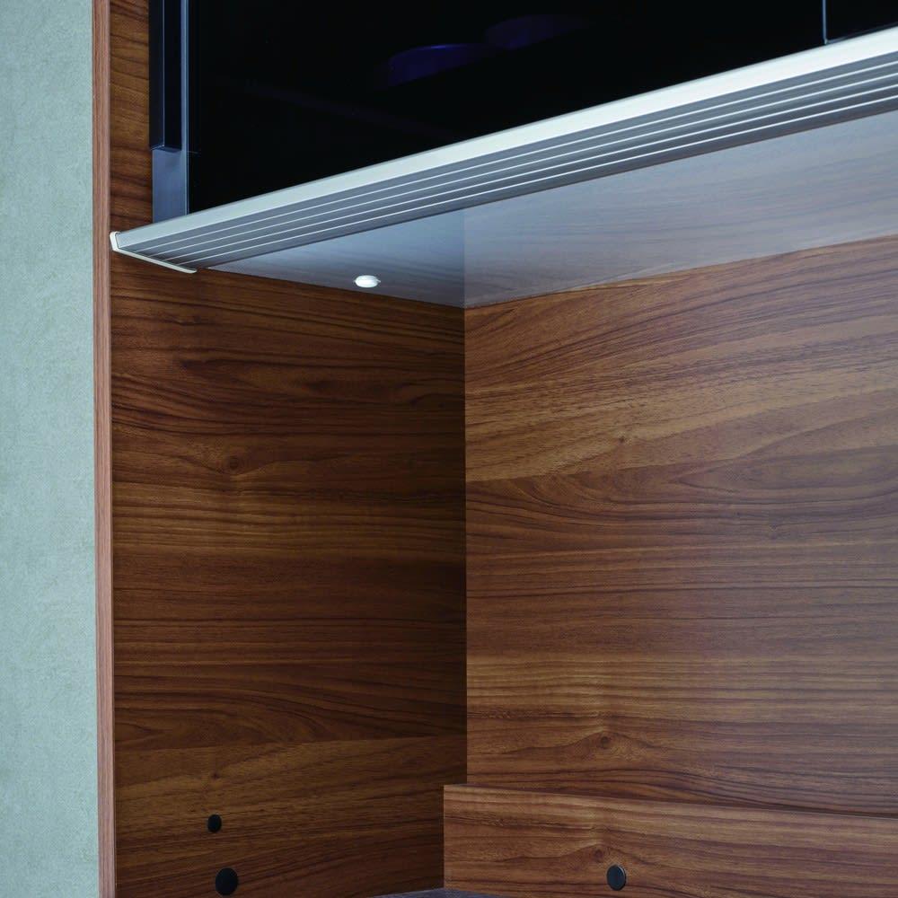 Boulder/ボルダー 石目調天板キッチンシリーズ ボード 幅160cm 奥行45cm オープン部の天井は、熱や蒸気、汚れに強いアルミボード仕上げ。調理家電の水蒸気に含まれる油分やデンプン質が浸透しません。