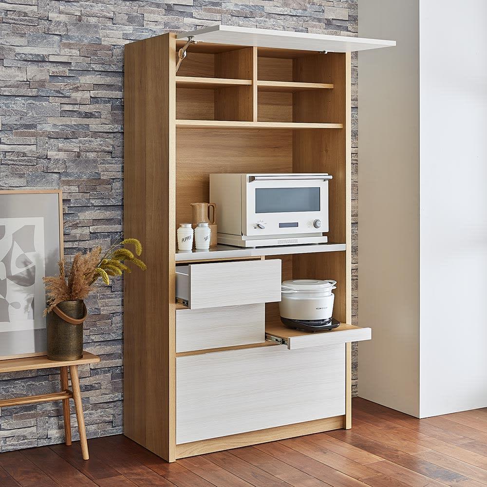 Milovy/ミロヴィ キッチンボード オープンボード 幅96cm キッチンしごとをサポートする高い収納力も魅力です。