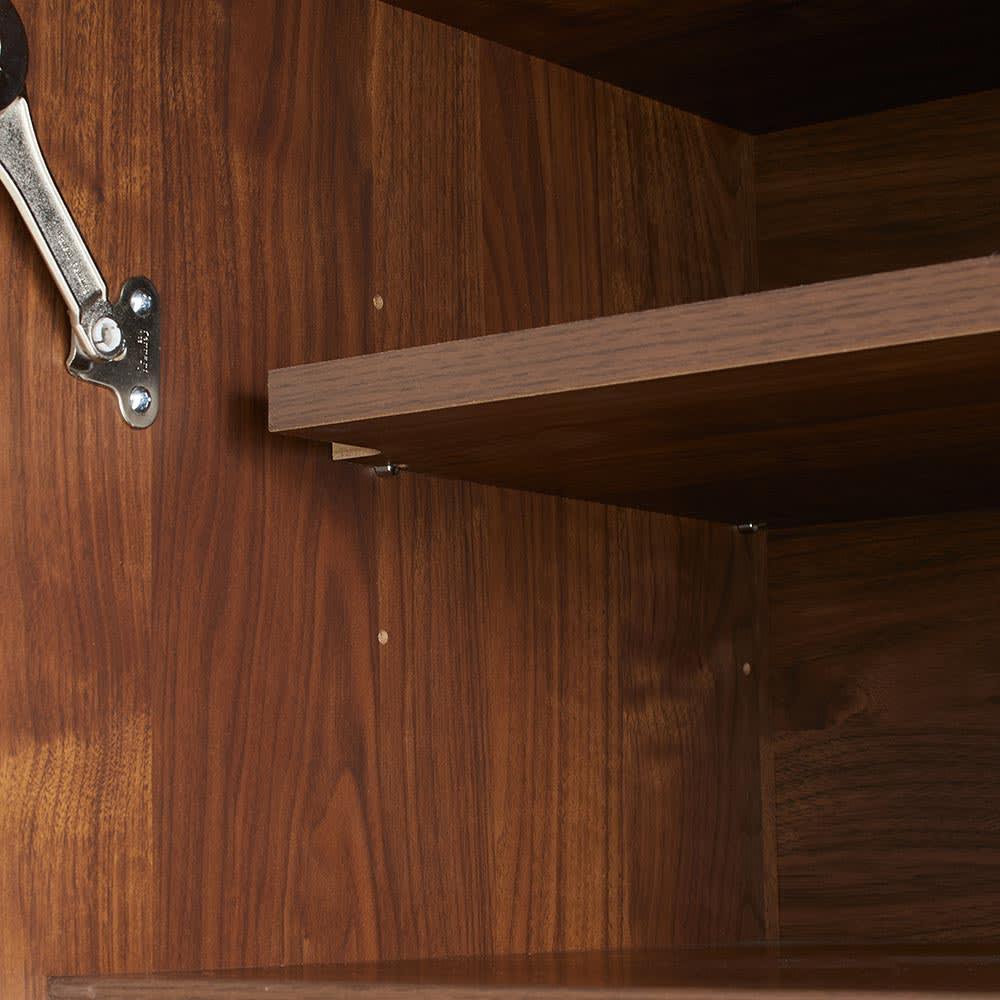 Milovy/ミロヴィ キッチンボード オープンボード 幅96cm 上部の扉内部には可動棚1枚付き。ホットプレートやカセットコンロなどの収納に便利なスペース。