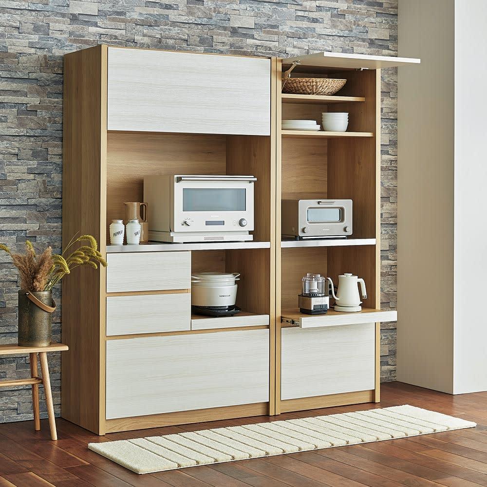 Milovy/ミロヴィ キッチンボード オープンボード 幅96cm コーディネート例 (ア)ホワイト(木目)×ナチュラル