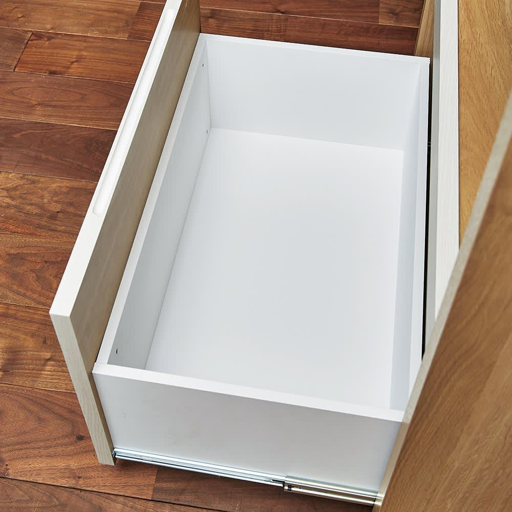 Milovy/ミロヴィ キッチンボード オープンボード 幅96cm 引き出し内部も化粧仕上げで汚れに強くお手入れラクラク。