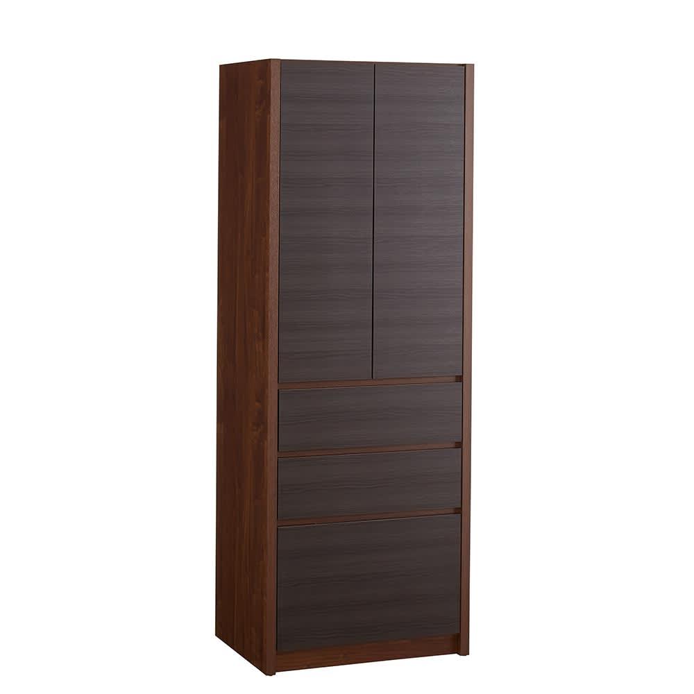 Milovy/ミロヴィ キッチンボード カップボード 幅66cm (イ)ブラック(木目)×ブラウン