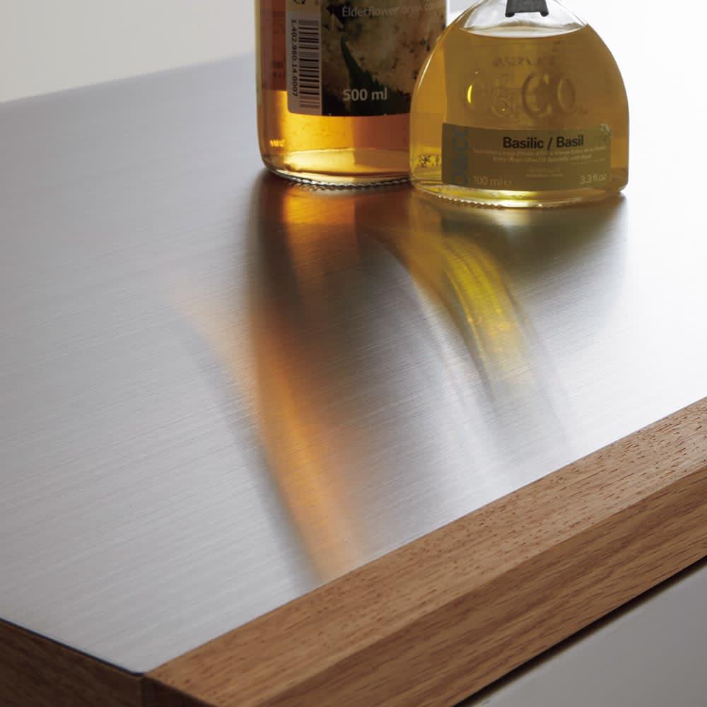 Torua/トルア キッチンボード 幅120cm カウンター 天板部分にはステンレスを使用。熱や汚れに強くお手入れもラクラク。
