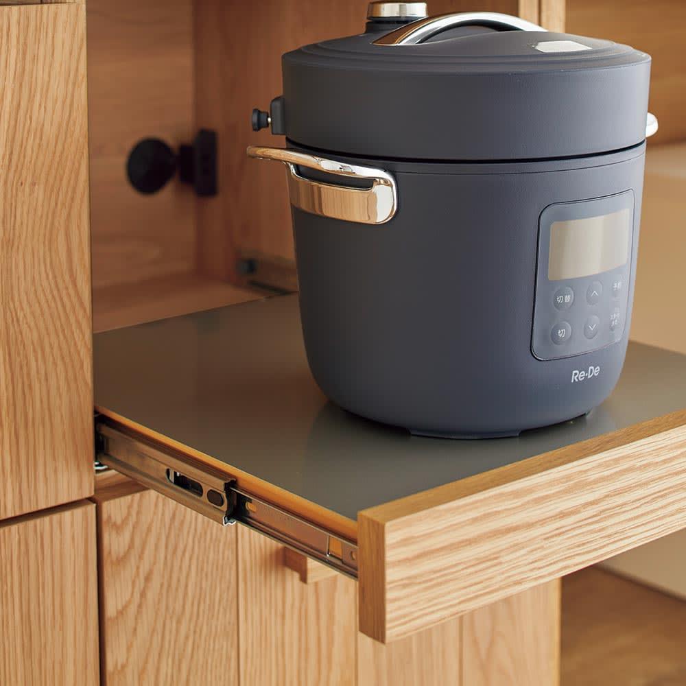 Torua/トルア キッチンボード 幅120cm キッチンボード スライドテーブル家電収納部には湯気の出る家電を置くのに最適。