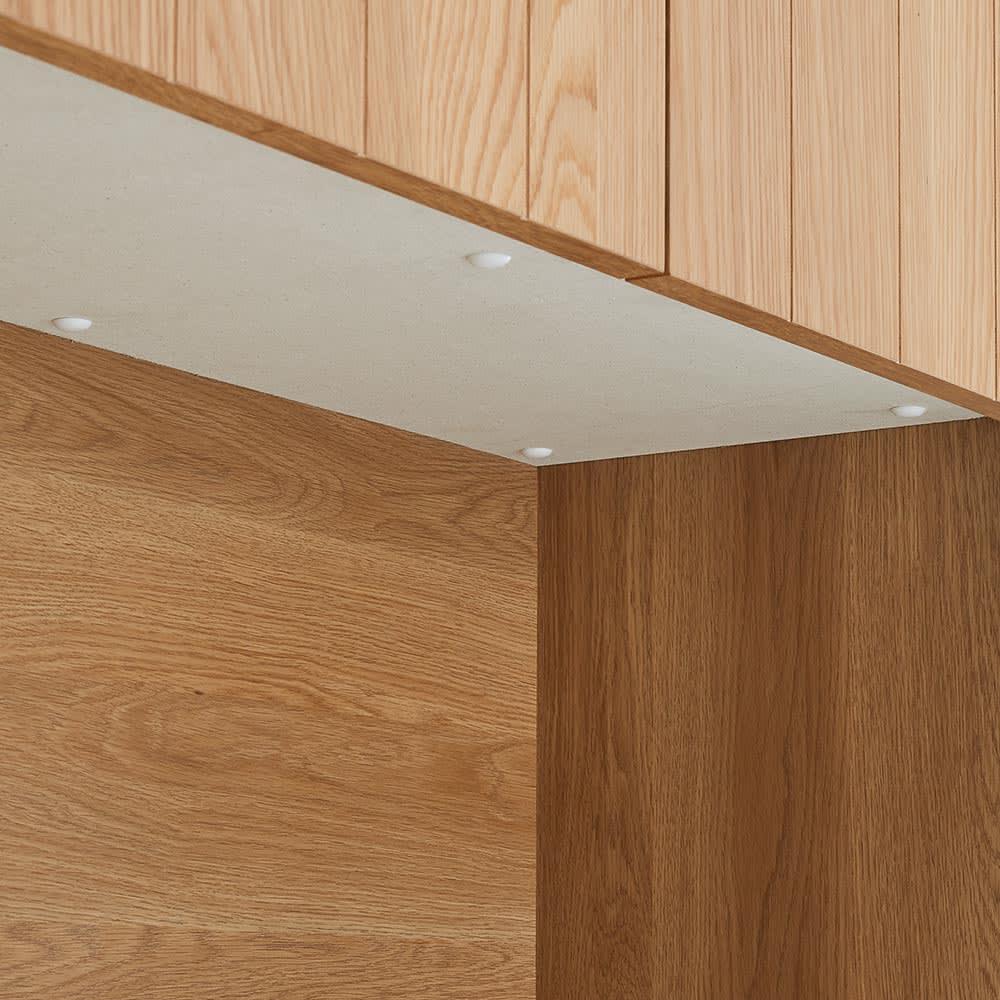 Torua/トルア キッチンボード 幅120cm キッチンボード 【モイスで湿気対策(※1)】中央オープン部の天井には調湿素材を採用。 ※1モイスとは、湿気を調節する無機材料。防火・耐火性に優れ、素材自体の力を利用した環境にやさしい適湿化素材です。