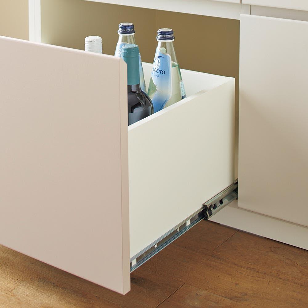 Enkel/エンケル キッチンシリーズ 幅105cm キッチンボード 引出しはフルスライドレールなのでなめらかに引き出すことが出来ます