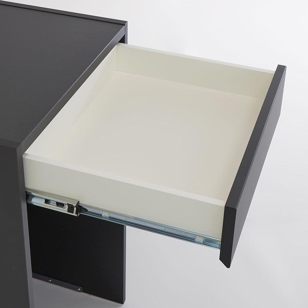 Enkel/エンケル キッチンシリーズ 幅72cm オープンカウンター 引出し中身はホワイト調で仕上げ、美しさと収納物に配慮しました。