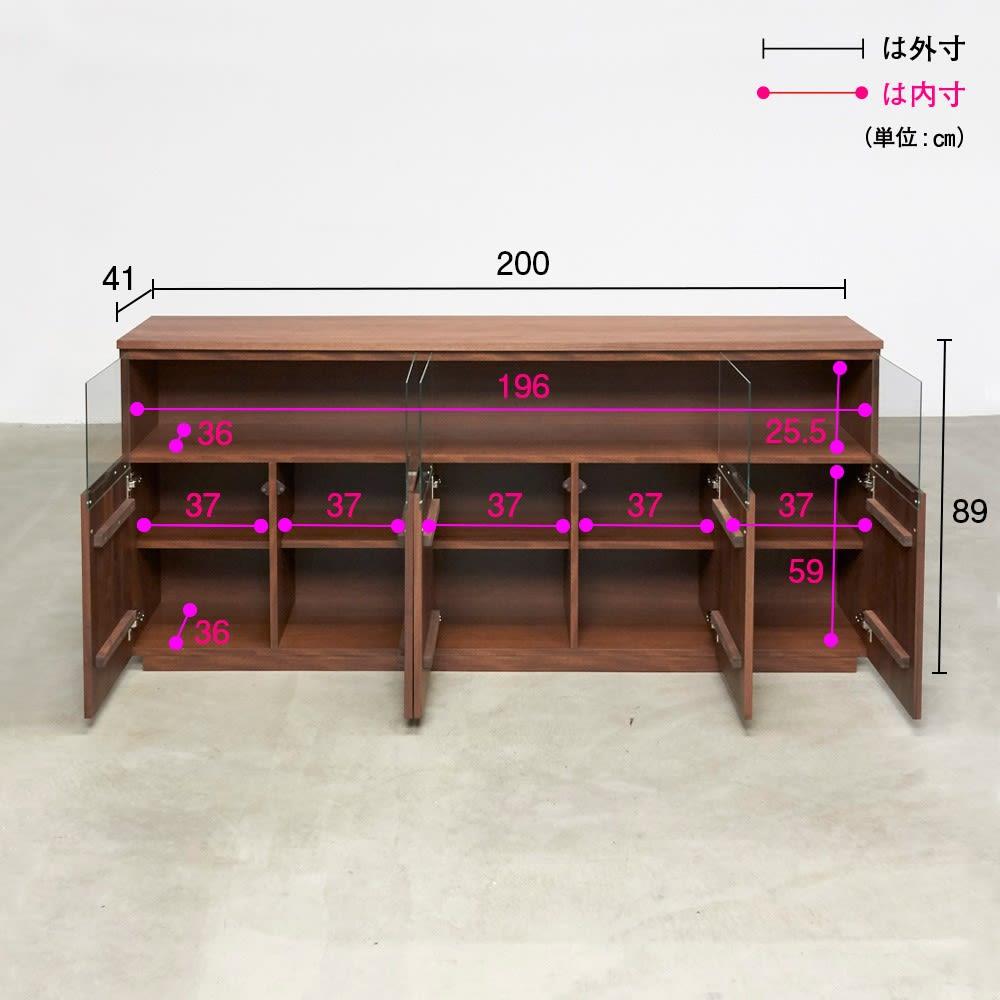 LEDライト付きサイドボード 幅200cm 詳細図(単位:cm)