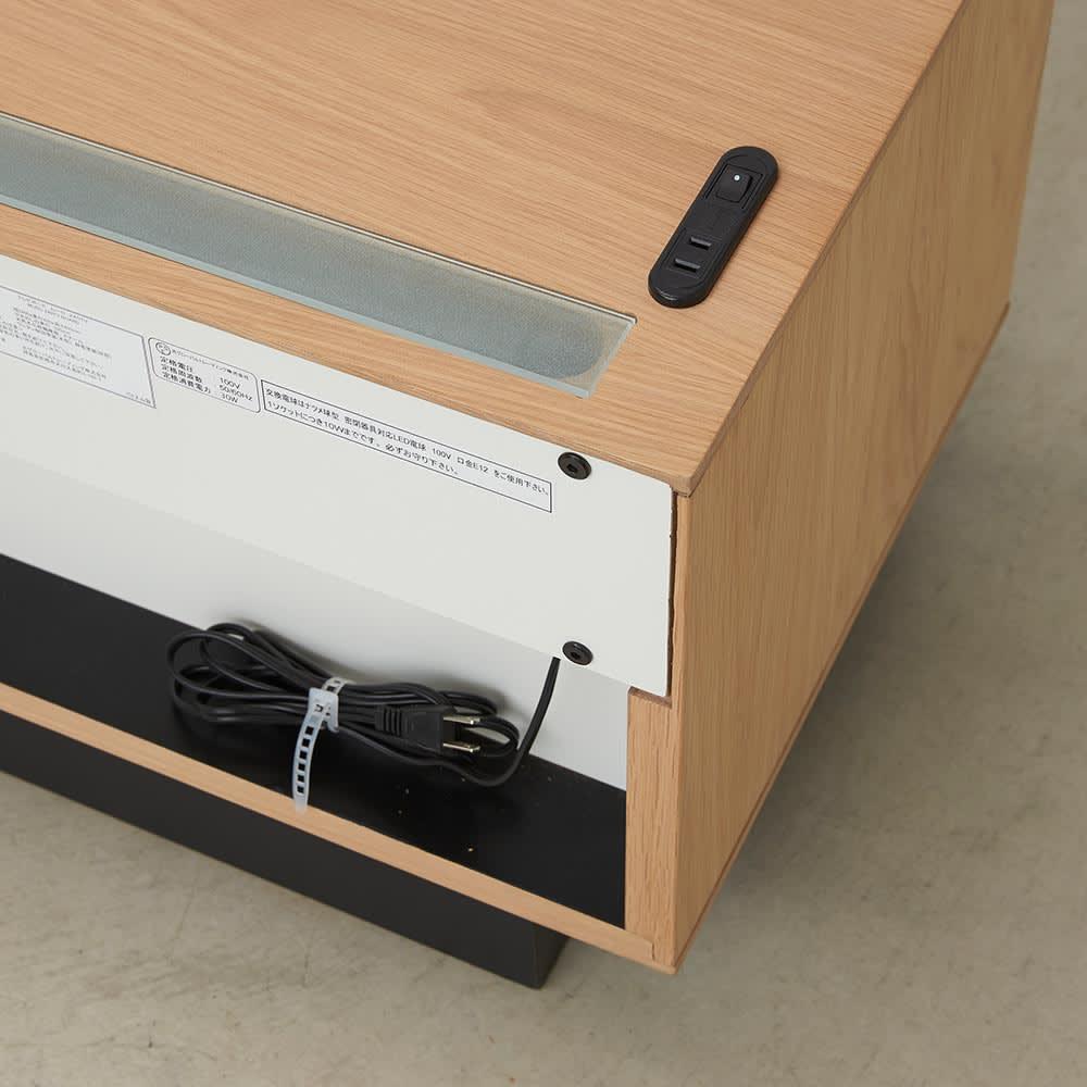 Glint/グリント LED照明付きテレビ台 幅200cm 背面にコード類をまとめて収納。