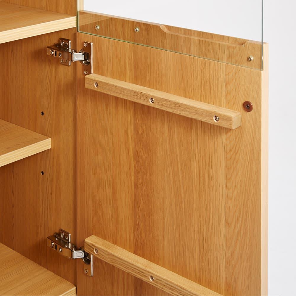 LEDライト付きサイドボードシリーズ LEDサイドボード 幅80cm 扉の前板はオーク天然木製。