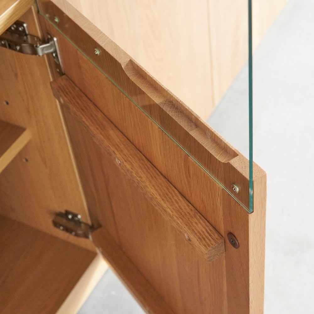 LEDライト付きサイドボードシリーズ LEDサイドボード 幅200cm 扉の前板はオーク天然木製。