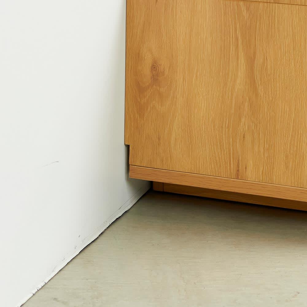 Remonte/ルモンテ リビングシリーズ テレビ台 幅200.5cm 巾木よけカット(高さ10奥行1cm)があるので、壁にぴったりつけて設置できます。