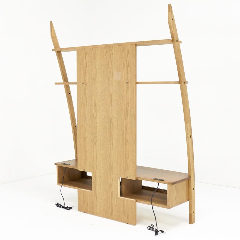 天然木シェルフシリーズ テレビ台 幅135cm[素材:オーク/アルダー] 背面は配線がしやすくデッキ類の熱がこもらないオープン仕様