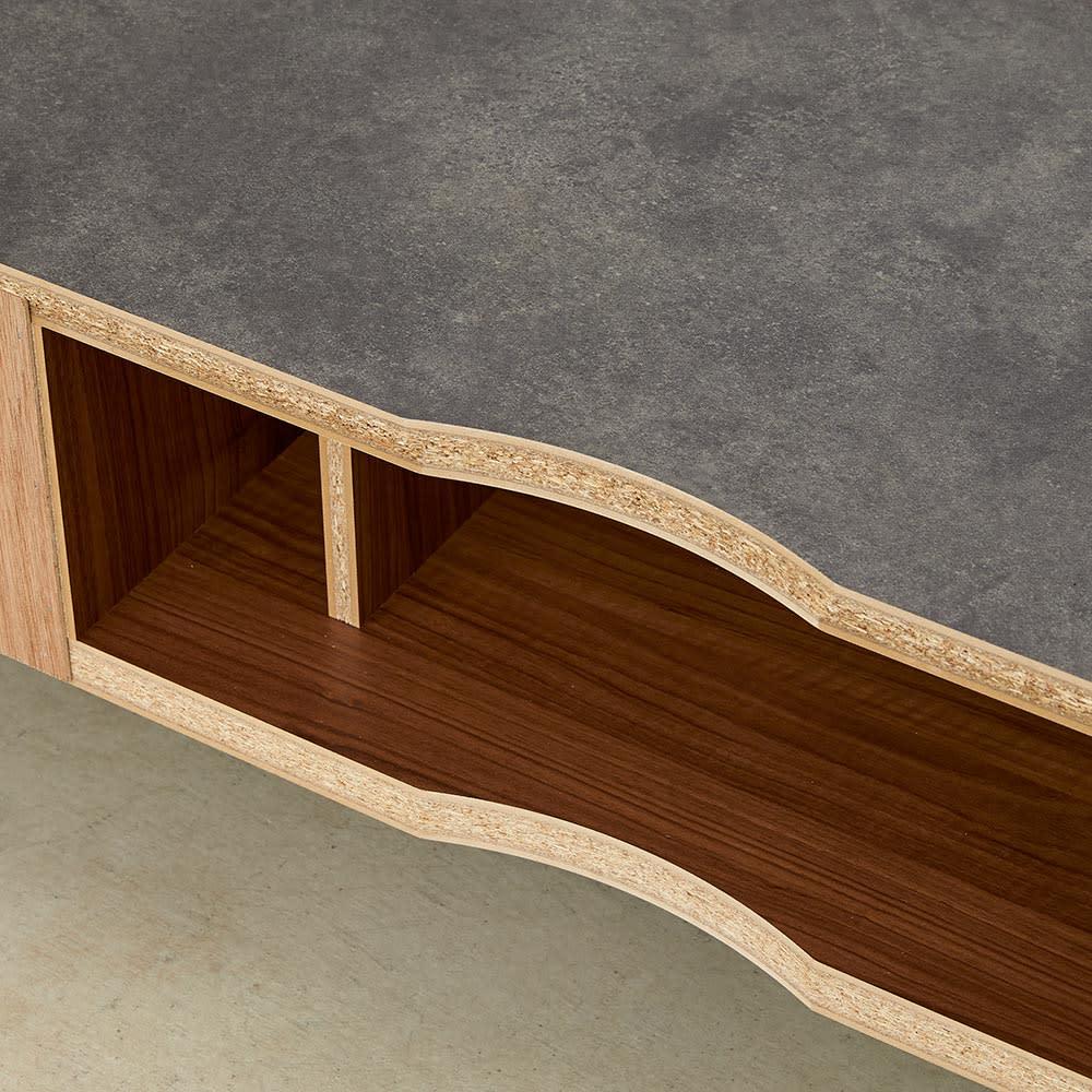 Boulder/ボルダー 石目調天板テレビ台 幅150cm デッキ収納部の背面は背板のないオープン仕様。
