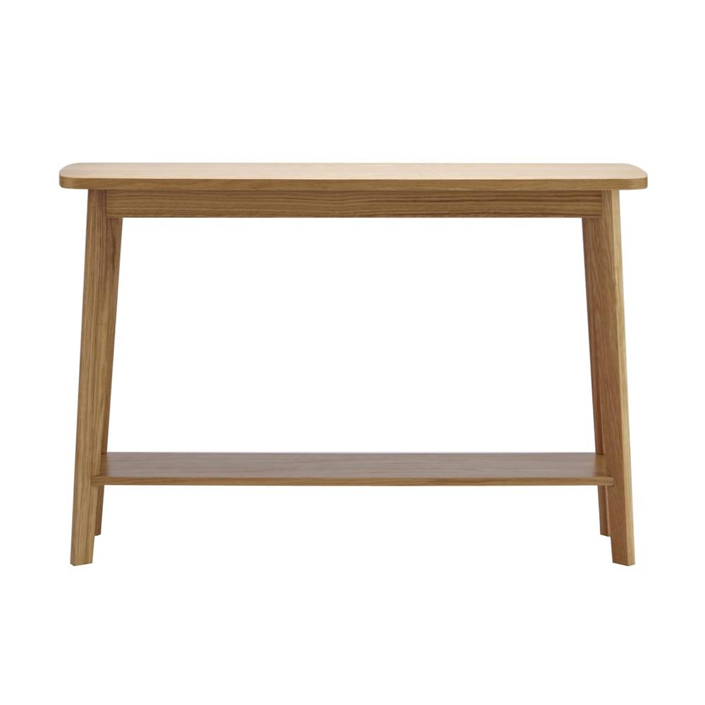 オーク天然木 リビングテーブル 棚付きコンソールテーブル [WOODMAN・ウッドマン] 正面