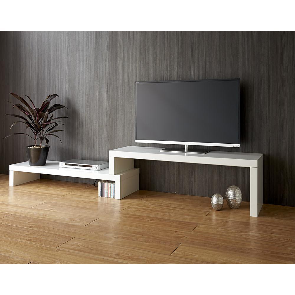 HS Cliff/エイチエスクリフ 伸縮式テレビ台テーブル 幅120cm[temahome テマホーム] ホワイト