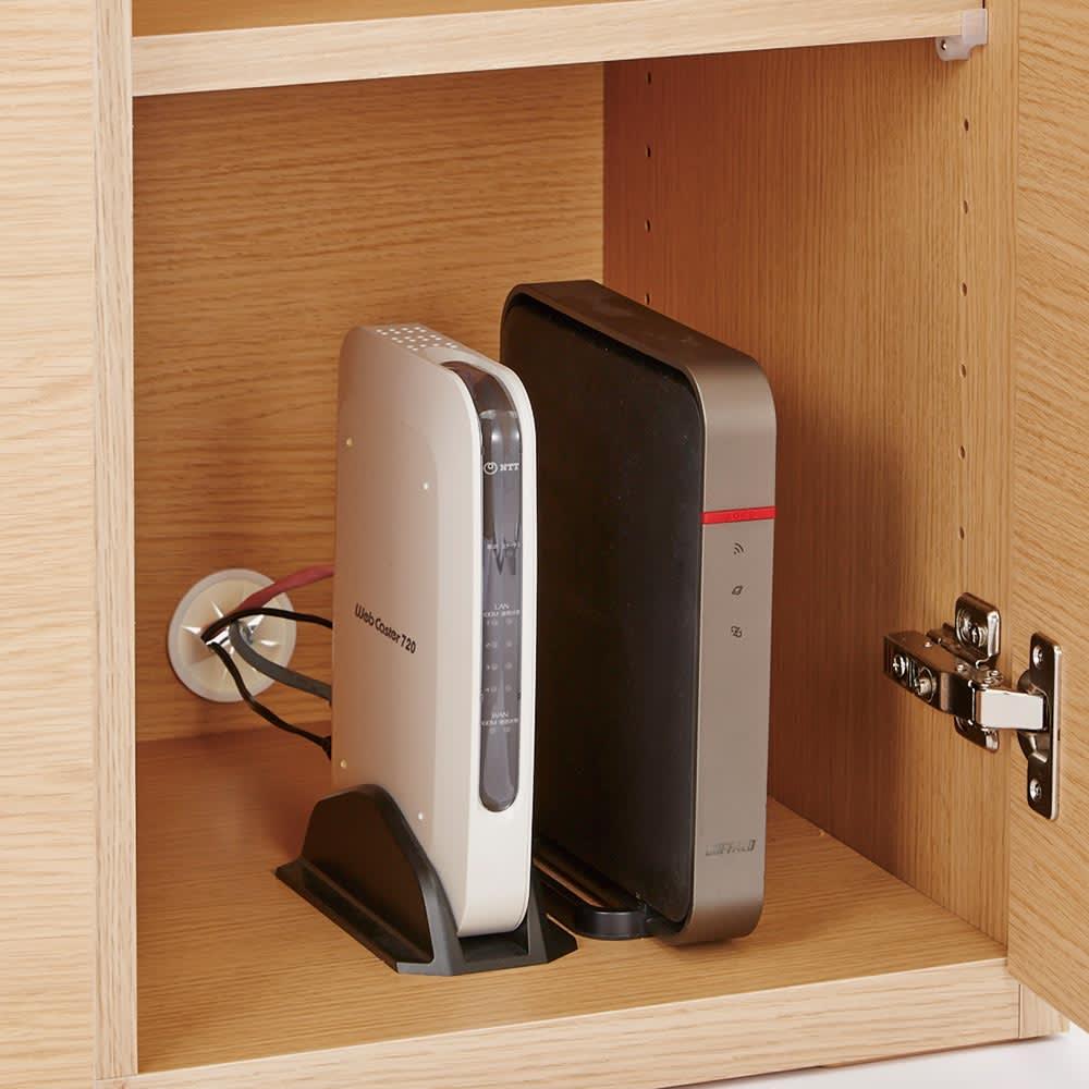 SabioII/サビオ リビング家電収納 サイドボード幅110cm 扉内には配線孔付きでモデムやルーターの収納にも便利な仕様。