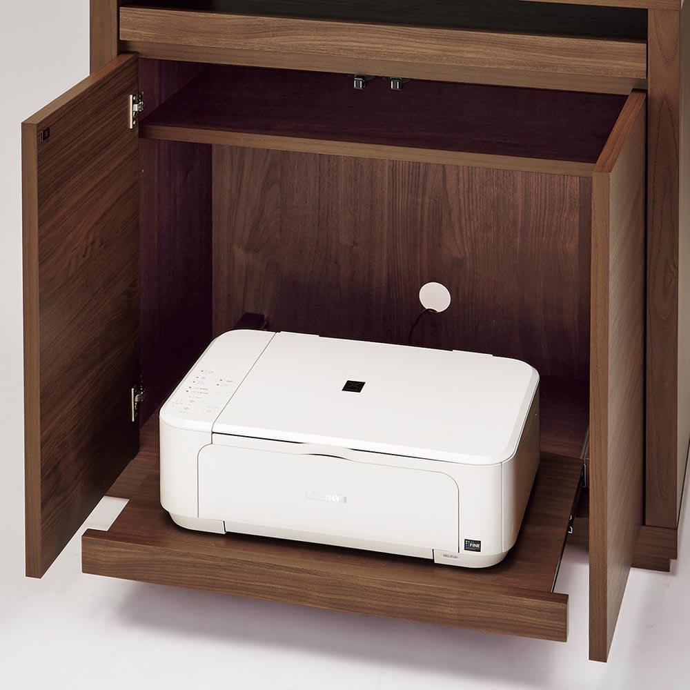 Antisala/アンティサラ パソコンデスク パソコンデスク 幅81 扉付きの収納部にはプリンター台となるスライドテーブル付きで、プリンターラックとして活躍します。