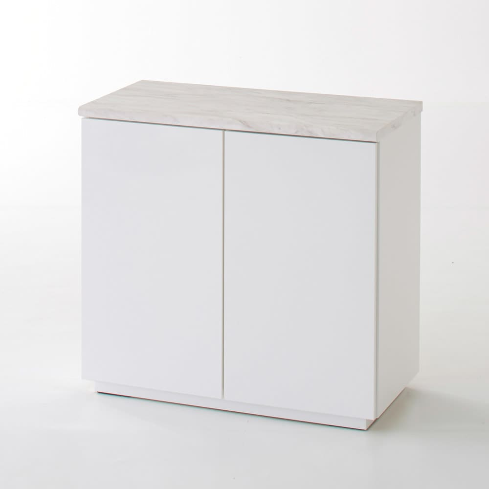 Canan/カナン 大理石調デスク 扉収納 幅78cm (ア)ホワイト(光沢) お届けする商品です