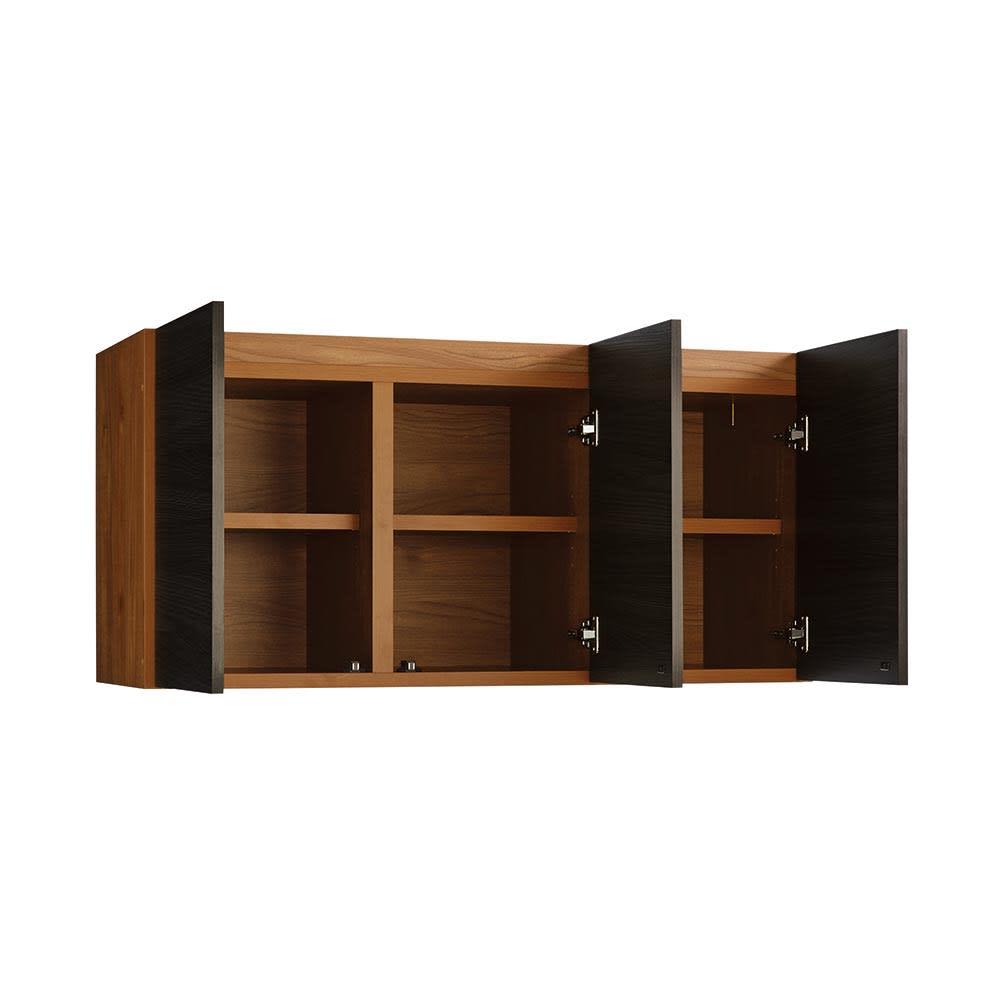 K´astani/カスターニ バイカラーコレクション本棚 高さサイズオーダー上置き 奥行45cm・幅117.5 高さ26~59cm 扉を開けた状態。