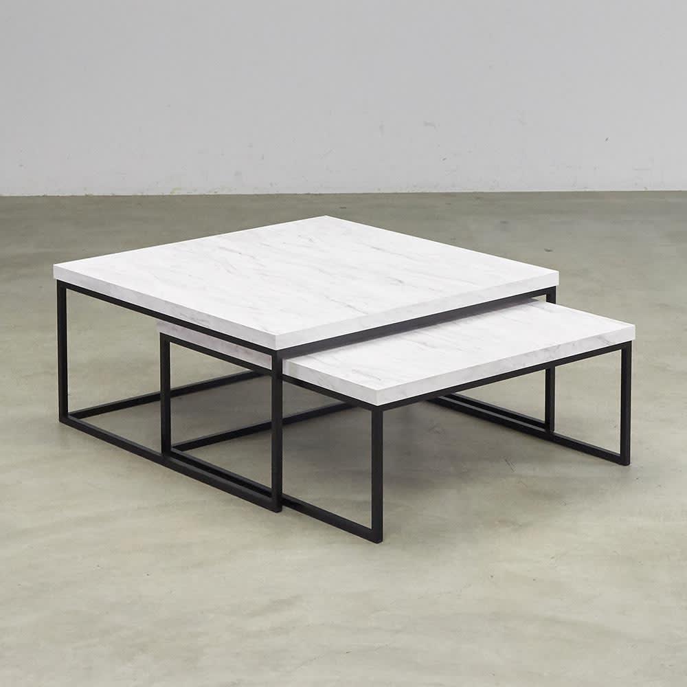 Marbrim/マーブリム 大理石調テーブルシリーズ ネストセンターテーブル 普段は重ねてコンパクト。