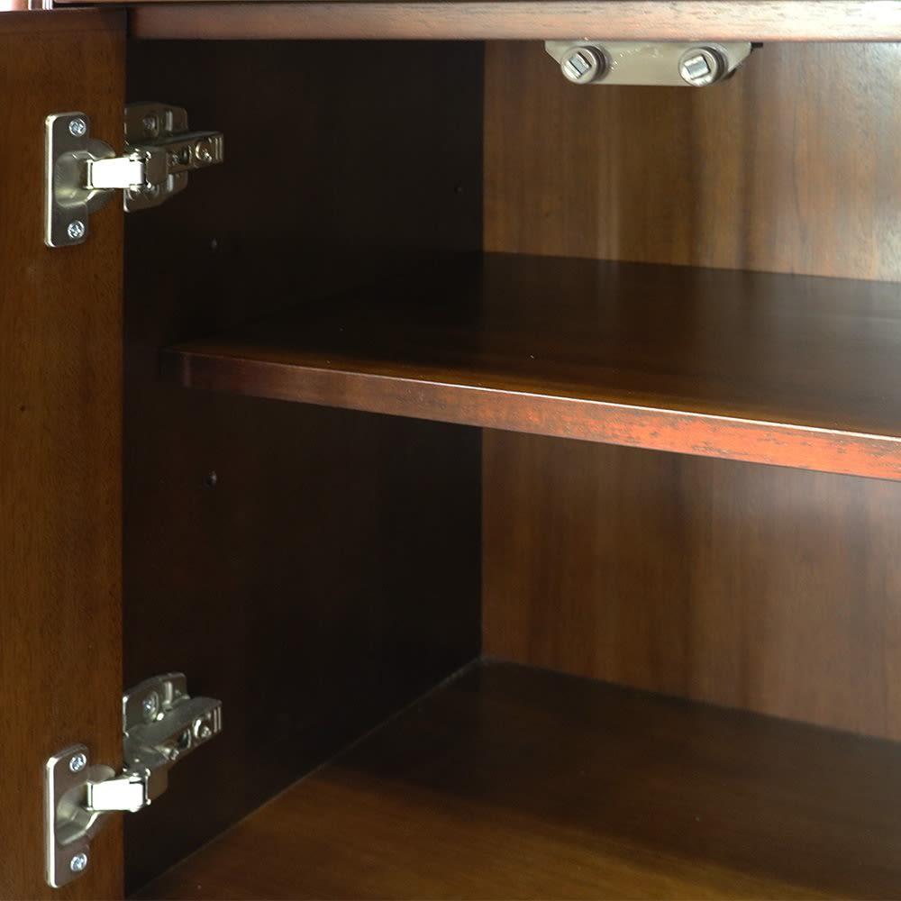Modernew/モダニウ リビング収納シリーズ キャビネット 幅90 扉内には可動棚大×1、小×1枚付属。6cmピッチで3段階に高さ調節できます。