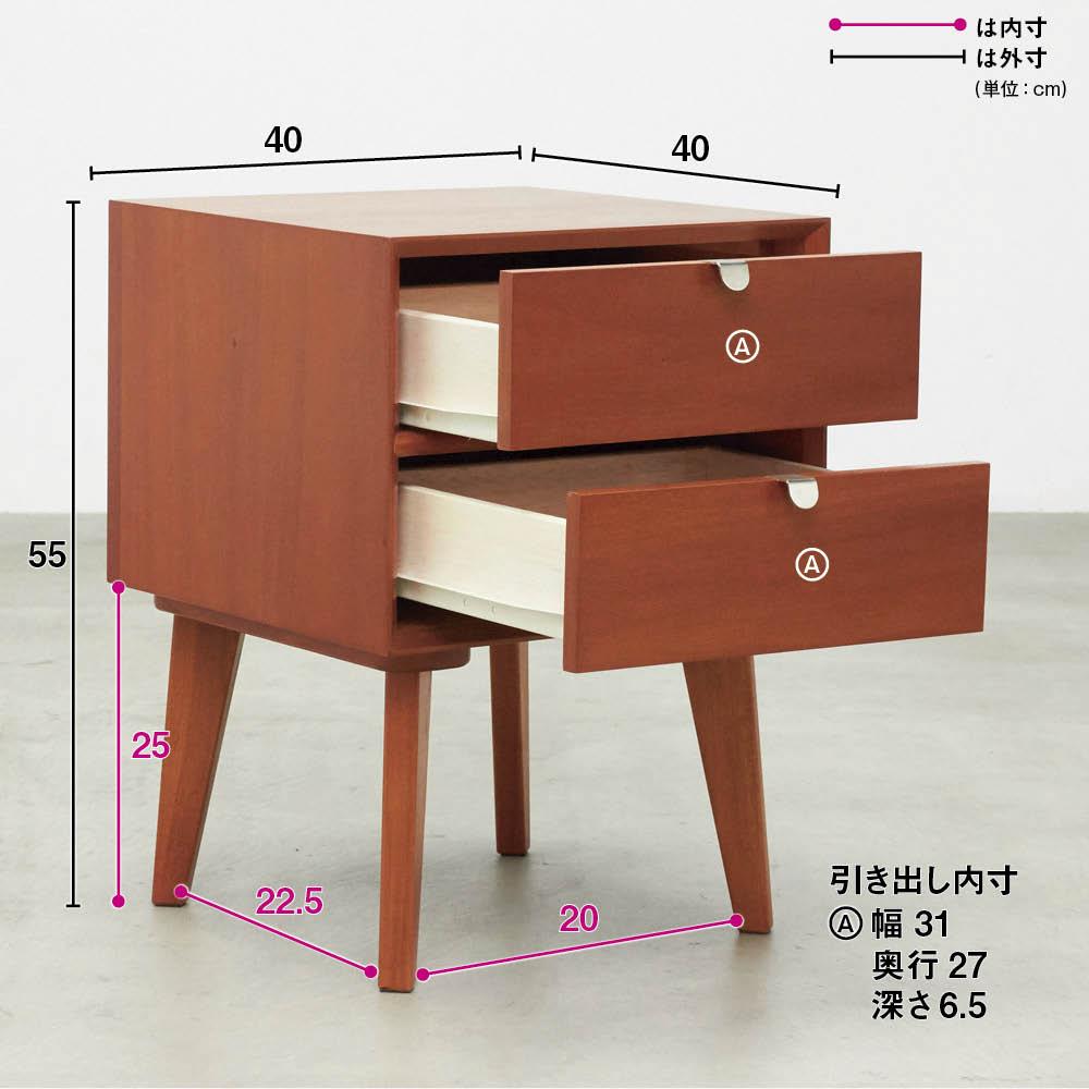 北欧ヴィンテージ風Vカットデザイン サイドテーブル・サイドチェスト・ナイトテーブル 幅40cm