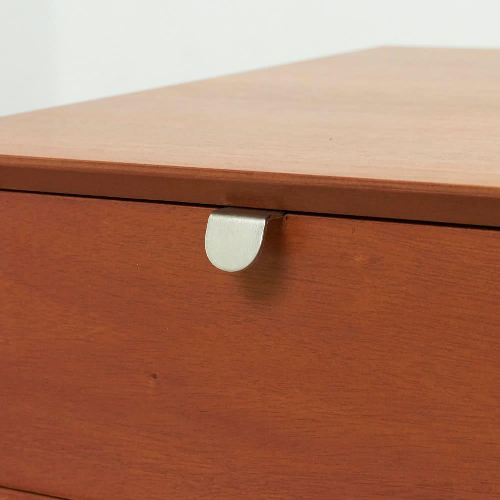 北欧ヴィンテージ風Vカットデザイン サイドテーブル・サイドチェスト・ナイトテーブル 幅40cm シンプルな取っ手がアクセントに。